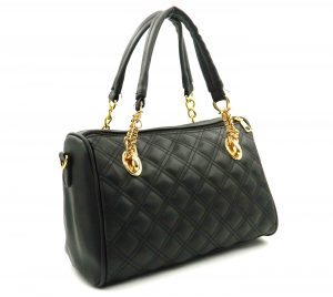 Apples Black Textured Tote Bags for Women