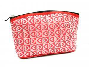 Apples Cosmetic Pouch with Red Zipper
